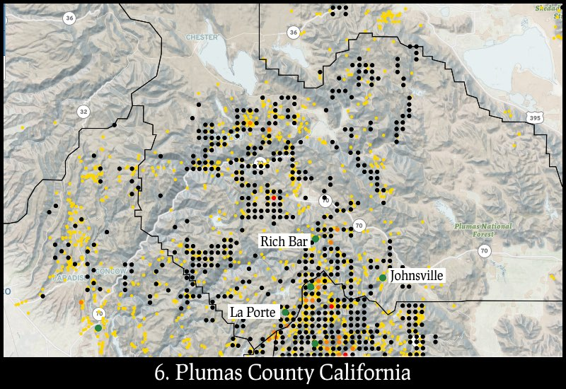 Distribution of gold mines and placer claims in Plumas County, California