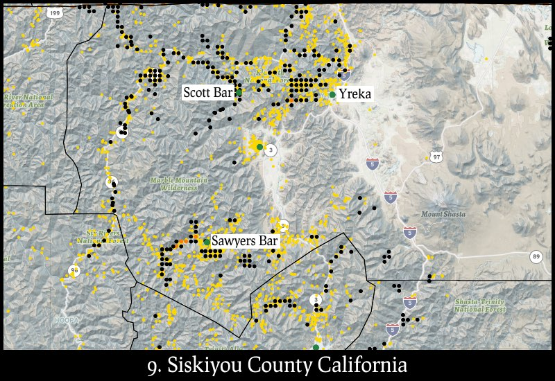 Distribution of gold mines and placer claims in Siskiyou County, California