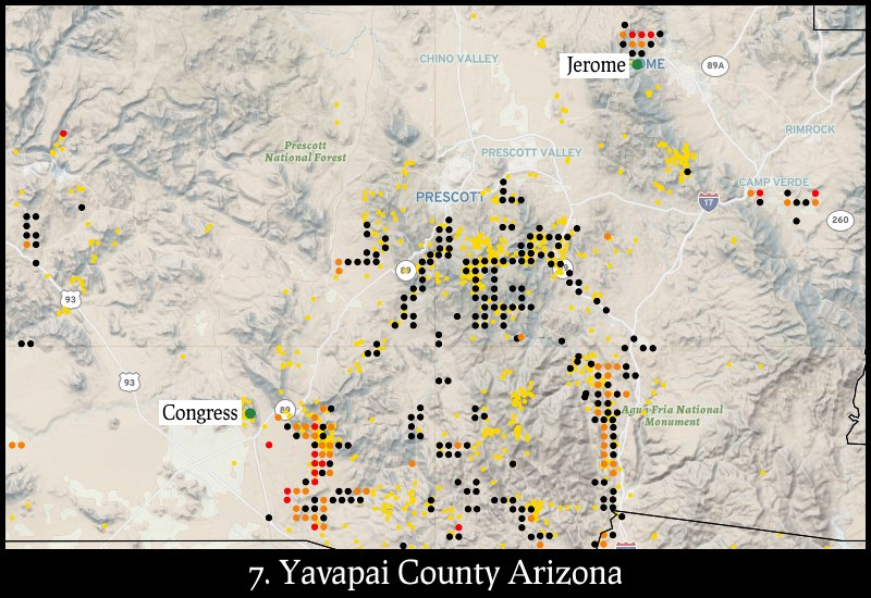 Distribution of gold mines and placer claims in Yavapai County, Arizona