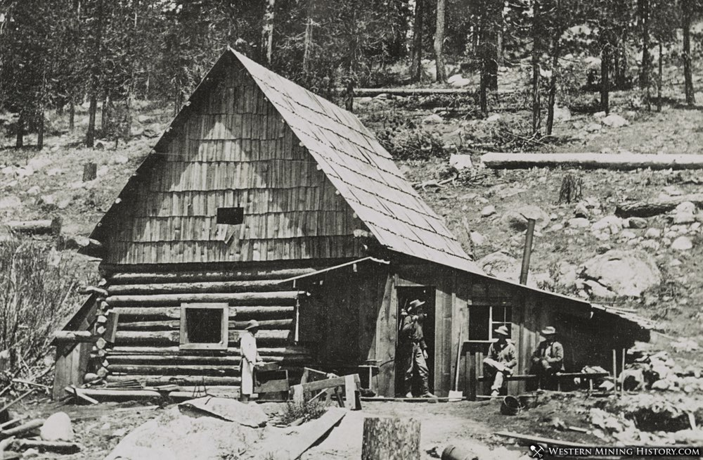 Miner's at their cabin in the Sierra Nevada range of California 1866