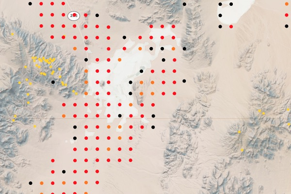 Lithium claims in Esmeralda County, Nevada. Visualization is part of the WMH Gold Explorer
