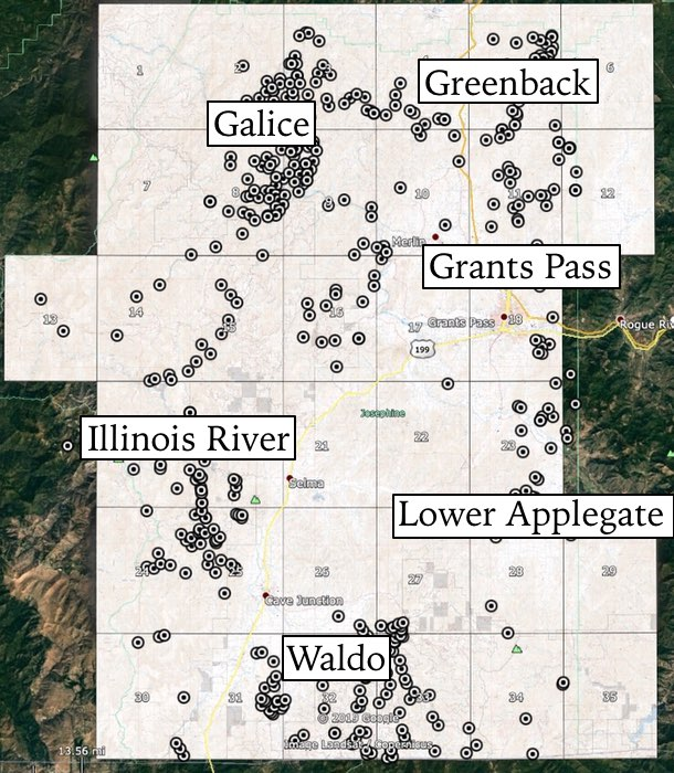 Josephine County Gold Districts