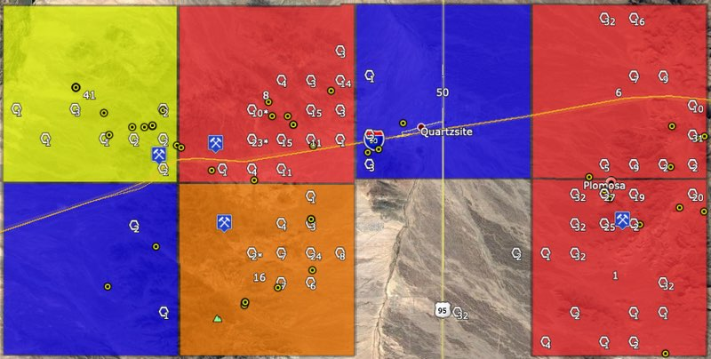 Quartzsite, Arizona placer mining map