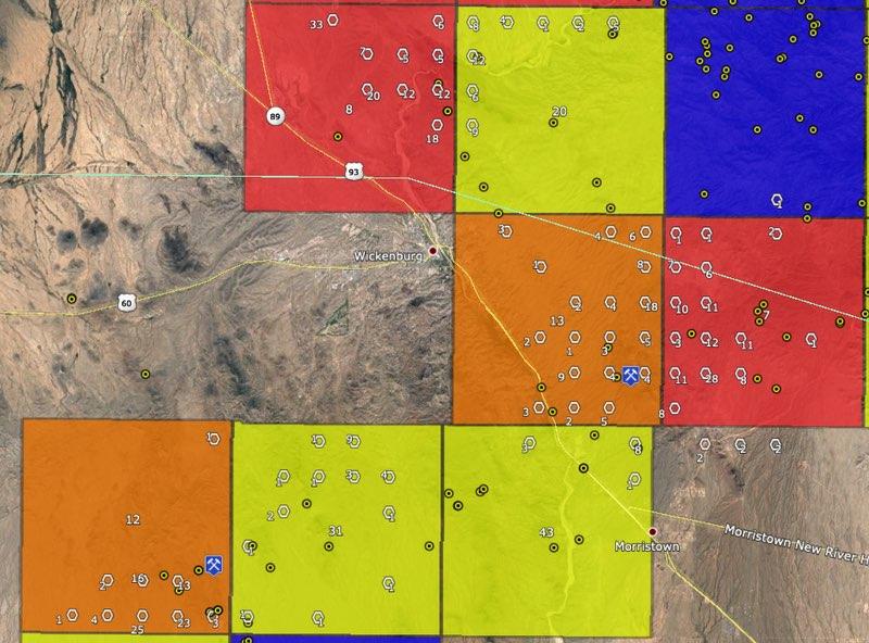 Gold areas around Wickenburg, Arizona