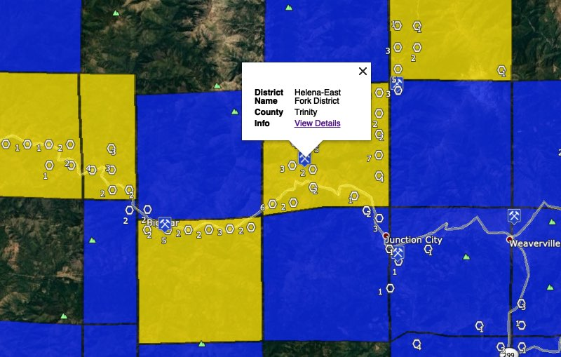 Trinity River placer gold mining areas