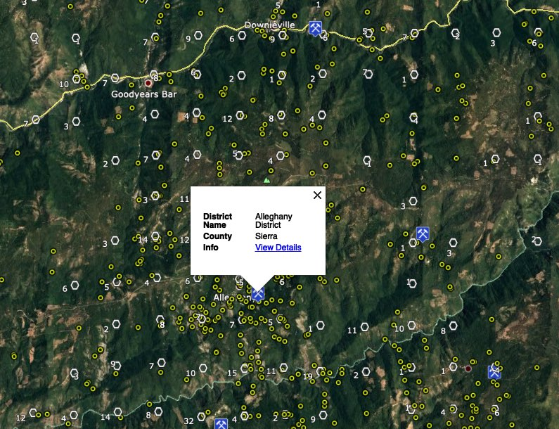 Gold mines and placer claims in the Alleghany district