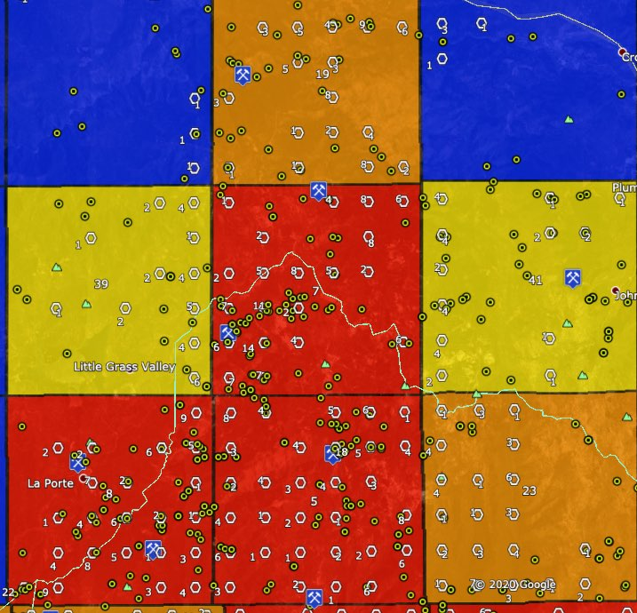 La Porte - Gibsonville - Rich Bar gold areas