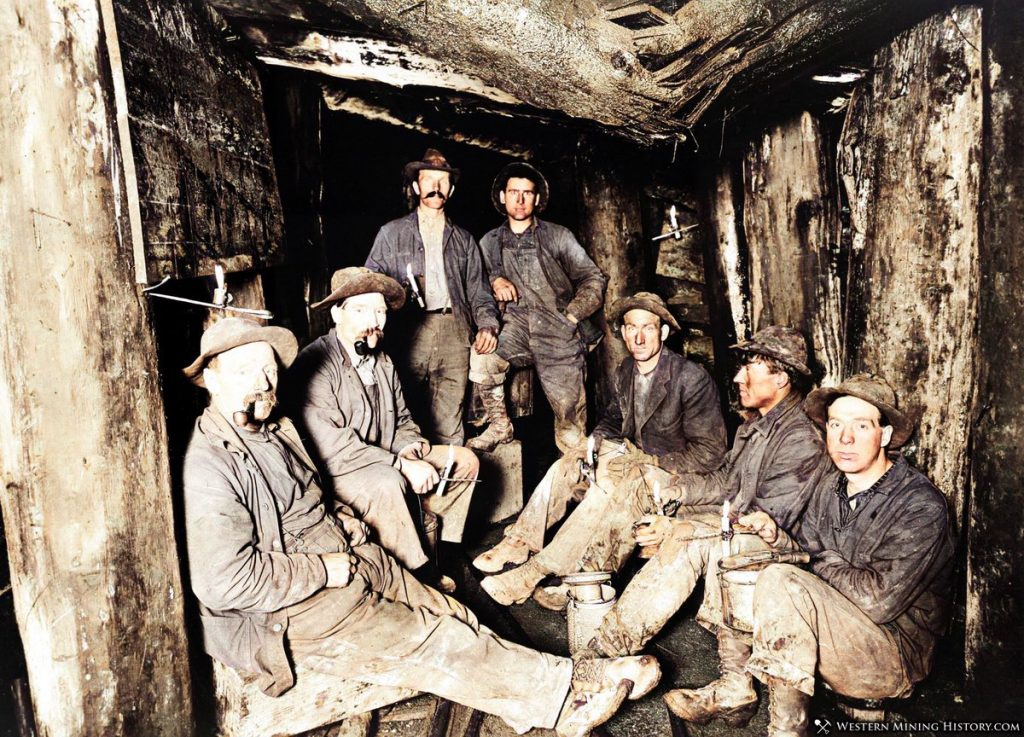 Miners taking a lunch break at the Chance Mine 1909
