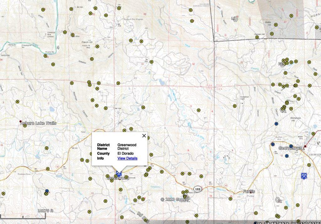El Dorado California gold districts