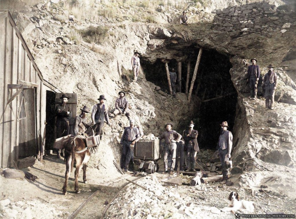 Miners Pose at Unidentified Nevada Mine Late 1800s