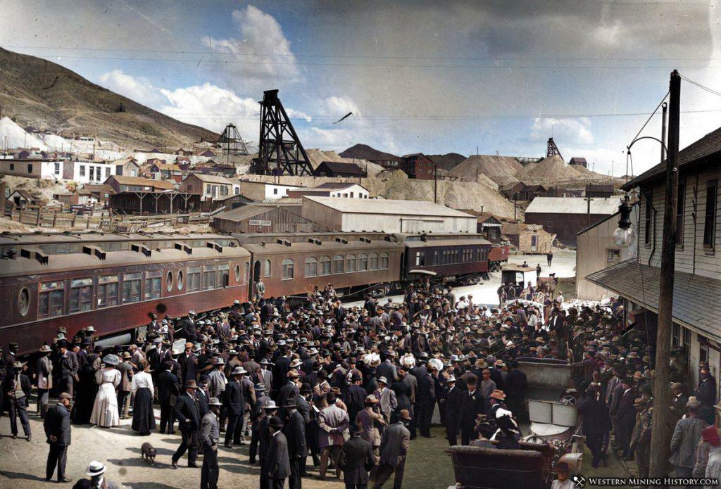Crowd at the Railroad Depot - Tonopah, Nevada 1907