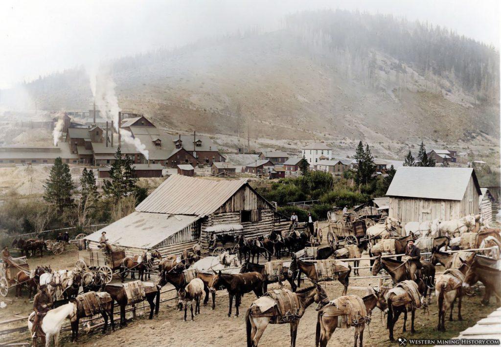 Historic mining scene - Pony, Montana ca. 1900