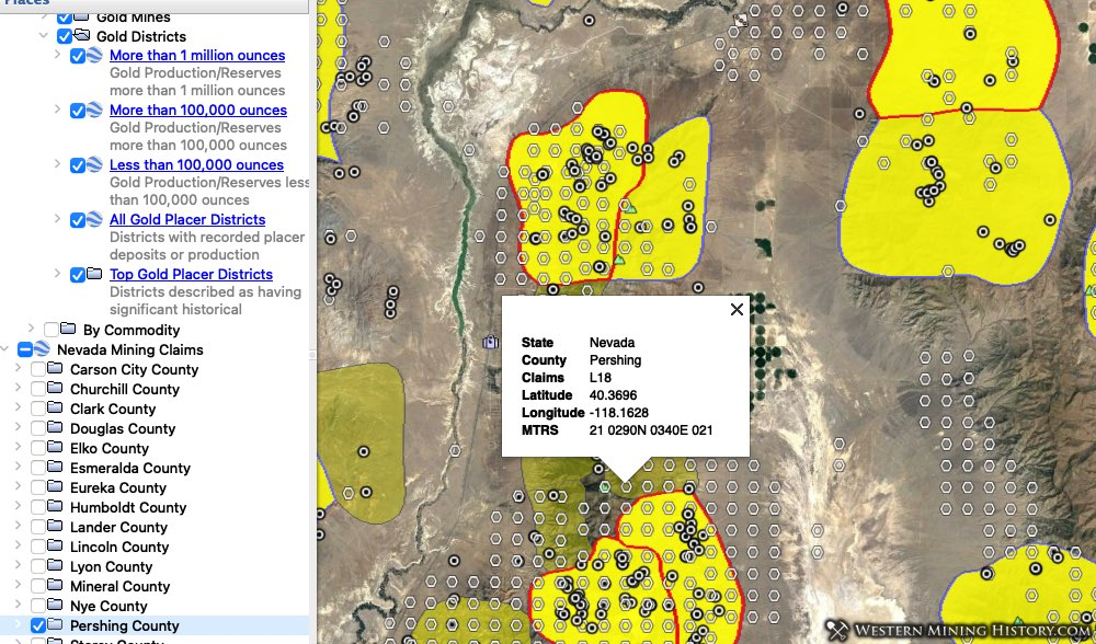 Nevada gold districts