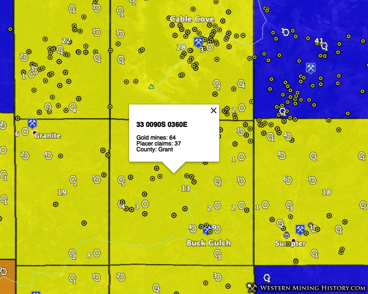 Granite and Sumpter Oregon gold areas