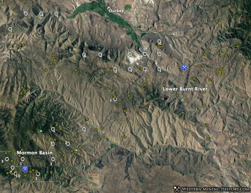 Lower Burnt River Valley and Mormon Basin gold districts in Oregon