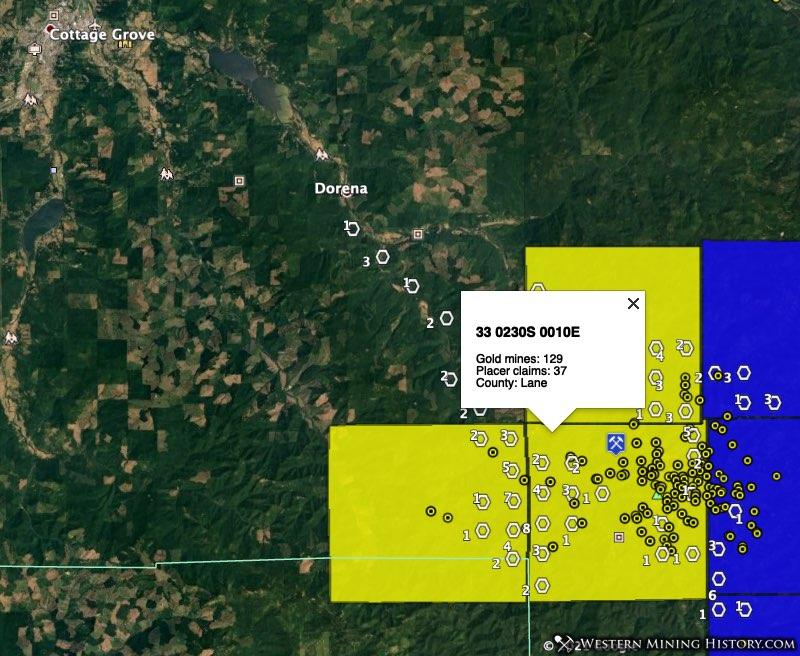Bohemia gold district in Lane County, Oregon