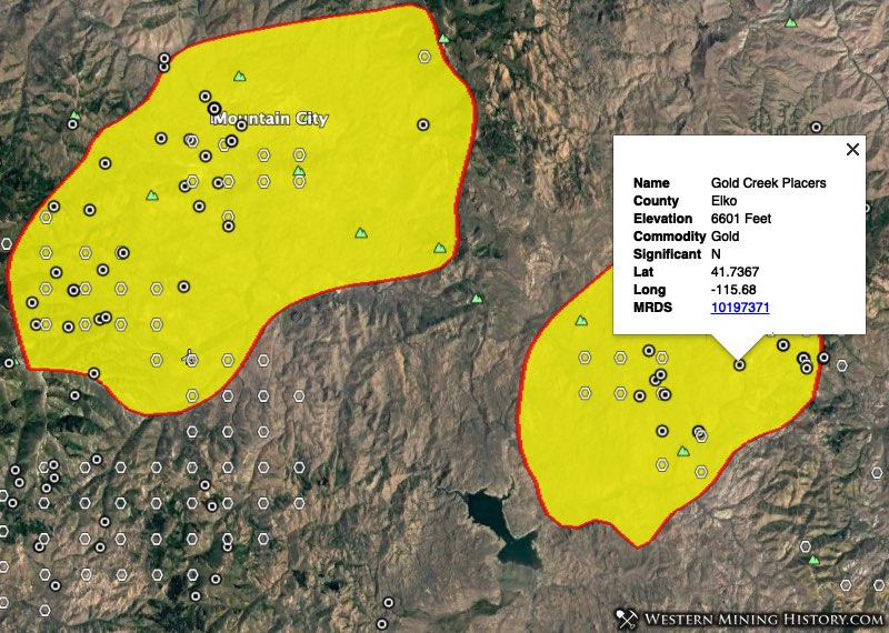 Nevada gold placer mining districts