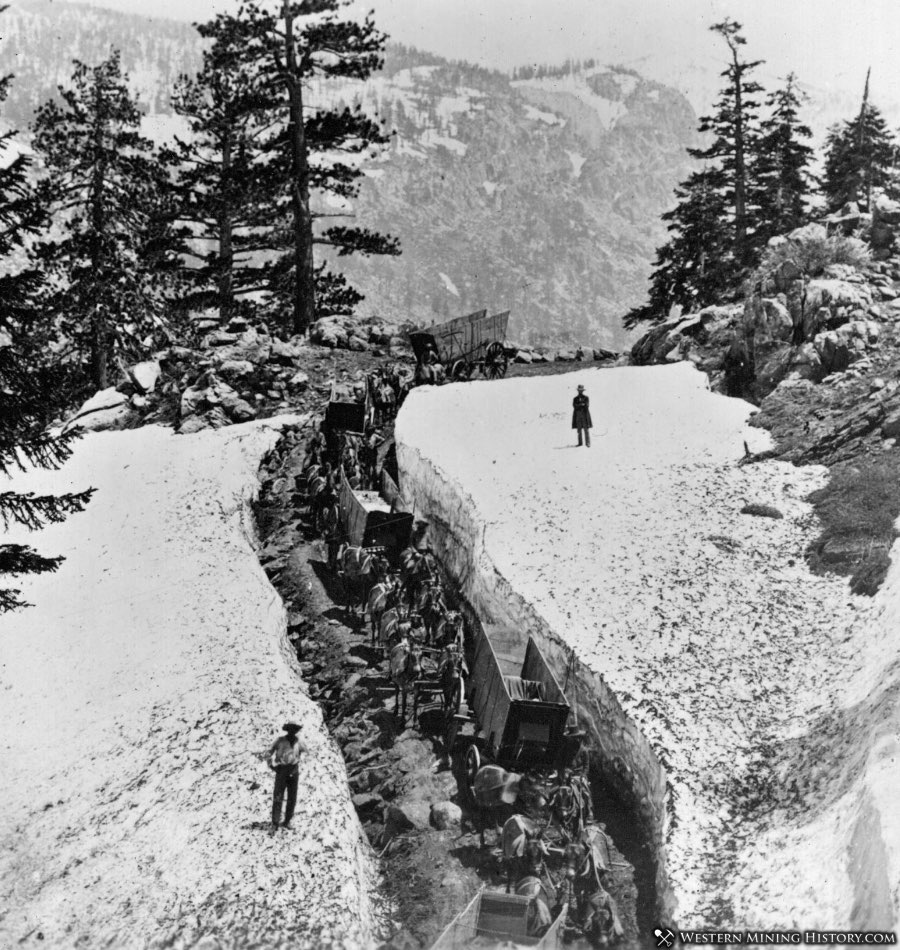 Negotiating deep spring snow pack in the Tahoe region of California 1880s