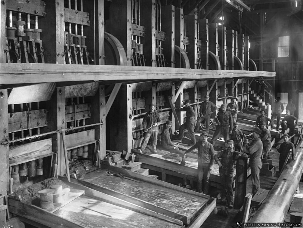 Workers at an unidentified California 100-stamp mill ca. 1900