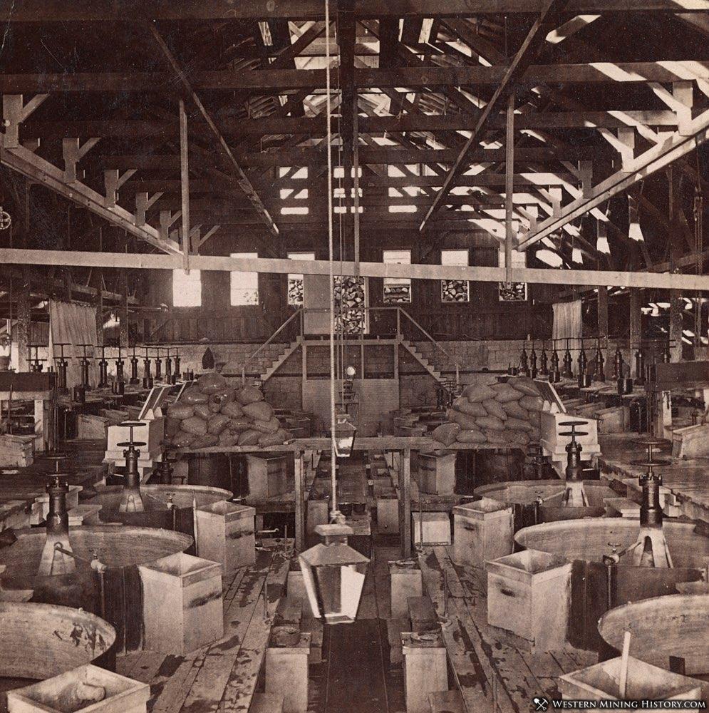 Consolidated Virginia Pan Mill interior at Virginia City, Nevada circa 1880