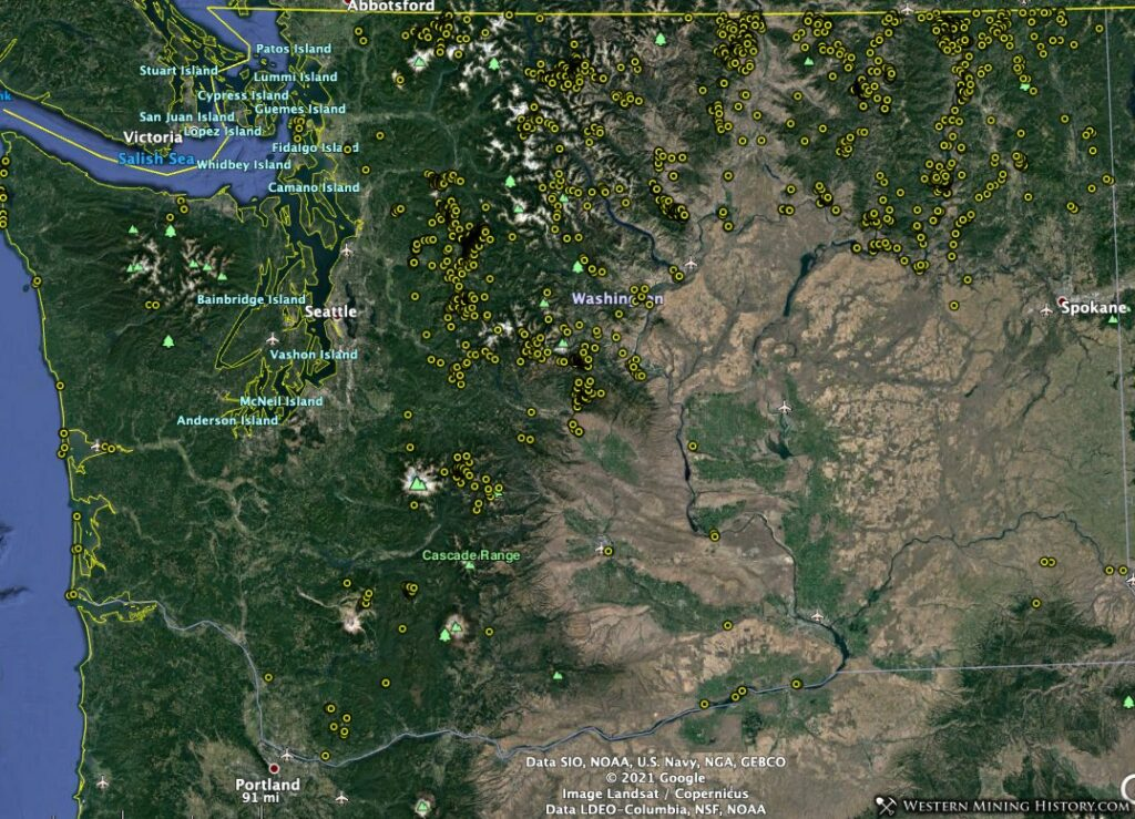 Distribution of historical gold mine records in Washington