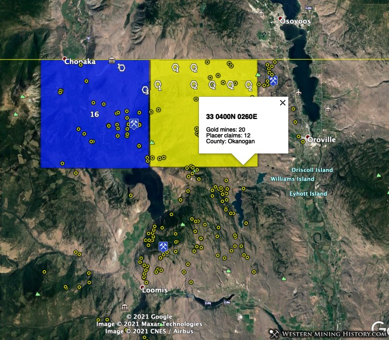 Oroville and Nighthawk mining districts in northern Washington